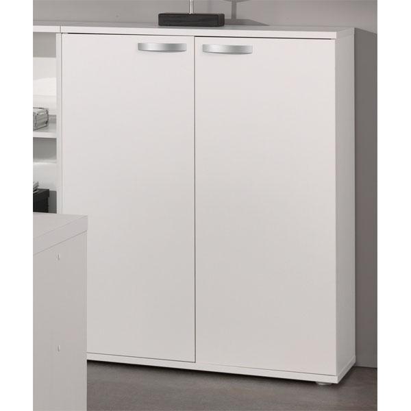 Soldes armoire basse de bureau 2 portes blanc ne alt1a chez nouveau d cor - Meuble bureau belgique ...