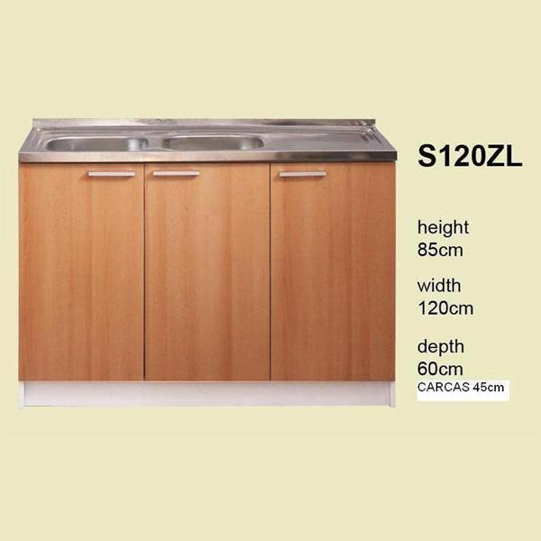 meuble de cuisine 3 portes pour évier 120 cm (élément bas) - iris ... - Meuble Cuisine 120 Cm