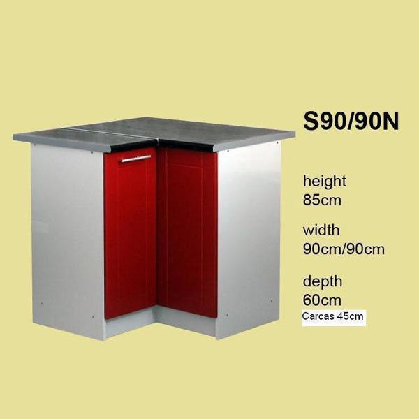 Promo meuble de cuisine en coin 2 portes 90 cm l ment bas kantaro s90n chez nouveau d cor - Meuble en coin cuisine ...