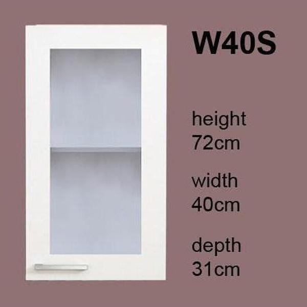 meuble de cuisine 1 porte vitrée 40 cm (élément haut) - gabi w40s ... - Meuble Cuisine Haut Porte Vitree